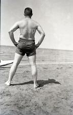 Swimsuit Man With Back to Camera Ponders The Ocean Vintage 1950s Negative Photo