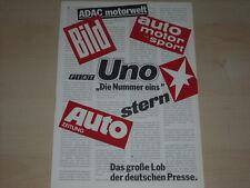 63385) Fiat Uno - Pressespiegel - Prospekt 1983