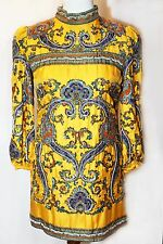 2800$ D&G DOLCE & GABBANA JUNIOR Runway Yellow Silk Beaded Sequin Dress, Sz. 40