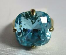 Ring Size 7 Brilliant Blue Topaz Faceted Crystal Solitaire Wide Band NWT T1