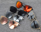 Womens Oversized Cat Eye Sunglasses Metal Frame Fashion Flat Lens  Mirror