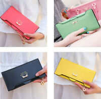 Fashion Women's Soft PU Leather Bowknot Clutch Wallet Long Card Purse Handbag