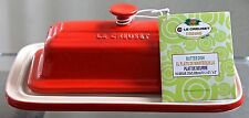 LE CREUSET BUTTER DISH CHERRY RED STONEWARE NEW