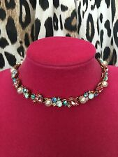 Betsey Johnson Princess Charming Cinderella Crystal Crown Dangle Choker Necklace