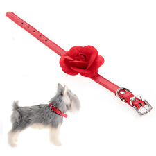Dog Cat Pet Puppy Safety Collar PU Leather Flower XS Red