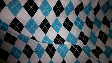 superbe tissu jersey coton style americain turquoise/noir/blanc 100x140 cm