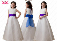 Isabelle Ivory/White Flower Girl Dress With Choice of Blue/Purple Sash & Bow