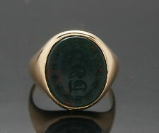 9Carat Rose Gold Oval Bloodstone Signet Seal Ring (Size K) 13x15mm Head