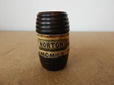 Vintage Treen Miniature Barrel with Norton Camomile pills label turned oak