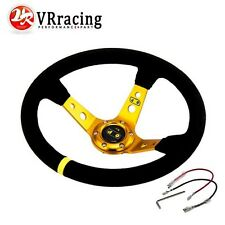 OMP Style 14inch 350mm Deep Dish Steering Wheel Suede Leather GOLD Universal