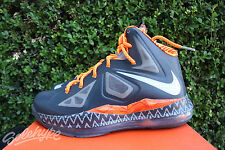 NIKE LEBRON X GS SZ 3.5 Y BHM PLATINUM SPIRIT GREY TOTAL ORANGE 543564 007