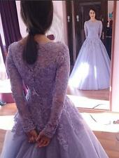 Applique Lilac Long Sleeve Princess Prom Formal Gown Sweet 16Quinceanera Dresses