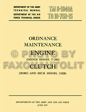1950-1969 Dodge M37 Engine and Clutch Rebuild Shop Manual TM91840A Service Book