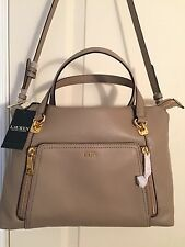 RALPH LAUREN Ally Medium Satchel Arley Porcini Leather  NWT $328.00