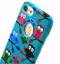 For iPhone 7 - HYBRID HARD&SOFT RUBBER ARMOR SKIN CASE COVER MINT BLUE OWLS TREE
