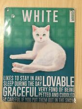 Vintage Style Metal Wall Kitchen Sign Retro White Cat Lovers Gift