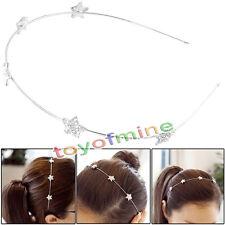 Silver Tone Meatl Rhinestone Star Slim Hair Hoop Headband