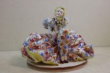 Antique Capodimonte Victorian  Porcelain Figural Lady / Flower Dress  Italy