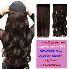 100% Silky Long Curly Wavy Straight CLIP IN On HAIR EXTENSION 3/4 Full head ss15