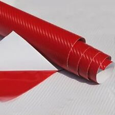 "Red Carbon Fiber Vinyl Car DIY Wrap Sheet Roll Film Sticker Decal 24""x50"""