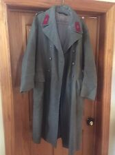 VINTAGE Military Issue Wool Men's Long Trench Coat - Green.