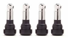 Snap In Black Rubber Valve Stems with Chrome Caps (Set of 4) Kit Set TR413C