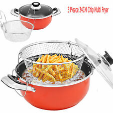 24CM 3 PCS NON STICK CHIP CHIPS FRYING PAN SET WITH BAKSET DEEP FAT FRYER FRIES