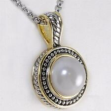 18KGP Bali Designer Inspired Mabe Cream Pearl Silver Gold Rope Pendant Necklace