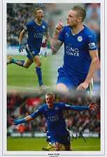 LEICESTER CITY HAND SIGNED JAMIE VARDY 12X8 MONTAGE PHOTO.