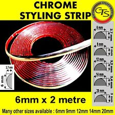 6mm x 2m CHROME CAR STYLING MOULDING STRIP TRIM ADHESIVE