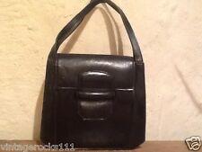 Ladies vintage handbag 1940s black leather
