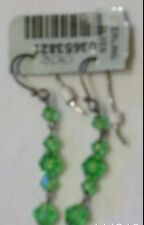 Cache Earring $21  RHINESTONE FACETED GREEN GEMSTONE CRYSTALS NWT  DANGLE EVENT