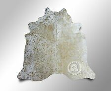 New Brazilian Cowhide Rug Devore METALLIC GOLD ON OFF WHITE 6'x8' Cow Leather