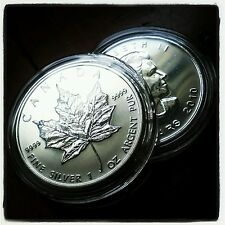 2010 CANADA Canadian Maple Leaf Silver Bullion Coin $5 BU UNC FREE CAPSULE