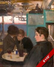 MAN & WOMEN SITTING IN A FRENCH MOULIN CAFE BAR PAINTING ART REAL CANVAS PRINT
