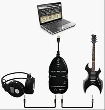 USB GUITAR LINK CABLE 2 PC INTERFACE CABLE AUDIO VOCAL RECORDING TRAINER BASS