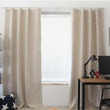 Star Print Window Curtain Blackout Thermal Entire Shade Polyester Drapes Valance