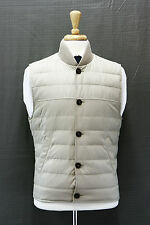 NWT.$2295 Brunello Cucinelli Men's Quilted Goose Down Ribbed Khaki Puffer Vest M