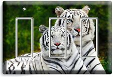 WILD CUTE WHITE BENGAL TIGERS TRIPLE GFI LIGHT SWITCH WALL PLATE ROOM HOME DECOR