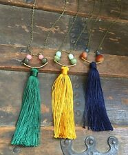Anthropologie Yellow Silk Tassel Necklace Brass Arc Aventurine Green Gemstone