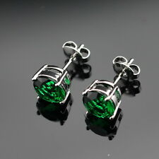 Beautiful 925 Sterling Silver Stud Earrings Green Emerald round. Gift Ladies