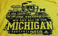 2010 Michigan Wolverine Football adidas Men's Yellow T Shirt Size Medium