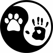 "VINYL STICKER YIN YANG PET/HUMAN 5"" WINDOW DECAL FUNNY CAR TRUCK SUV CAT"