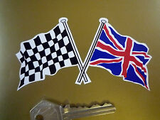 "Gekreuzte Union Jack & Karierte Flagge Auto Aufkleber 4""Paar Großbritannien"