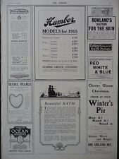1914 ADVERTS HUMBER CARS, POPE & BRADLEY MILITARY TAILORS SESSEL PEARLS  WW1 WWI