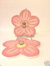 Two Pink Flower Hang Up Wood Hook Pegs Crystal Knobs ~ Pretty