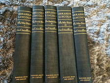 SET OF 5 ABRAHAM LINCOLN-CARL SANDBURG;WAR-PRAIRIE-WAR-YEARS-1939/1926 COPY BOOK