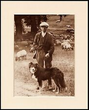 BORDER COLLIE LOVELY PRINT SHEPHERD AND HIS DOG MOUNTED READY TO FRAME