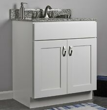"JSI Dover 30"" White Two Door Single Bathroom Vanity Cabinet w/ Solid Wood Frame"