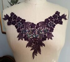 "11 1/2"" BEAD & SEQUIN Neckline Applique - Deep EGGPLANT PURPLE"